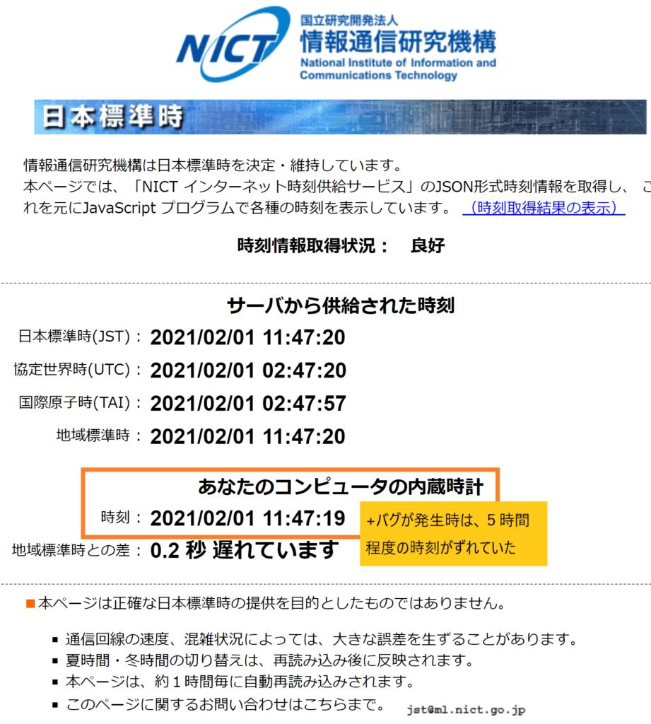 NICT内蔵時計時刻確認